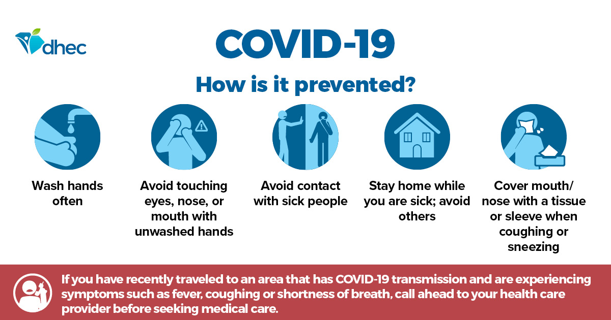 Graphic list how the spread of COVID-19 can be prevented: washing hands often; avoiding touch nose, eyes and mouth; avoiding contact with sick people; staying home when sick; and coughing or sneezing into your elbow.