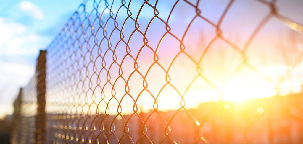 length of fence backlit by a setting sun