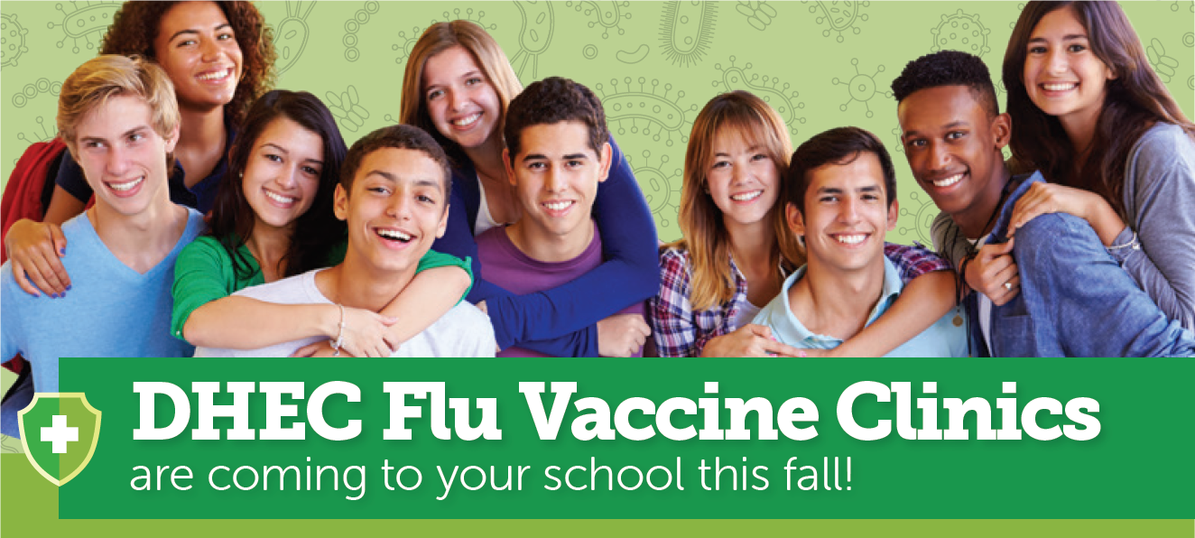 A diverse group of students; DHEC Flu Vaccine Clinics at SC Schools