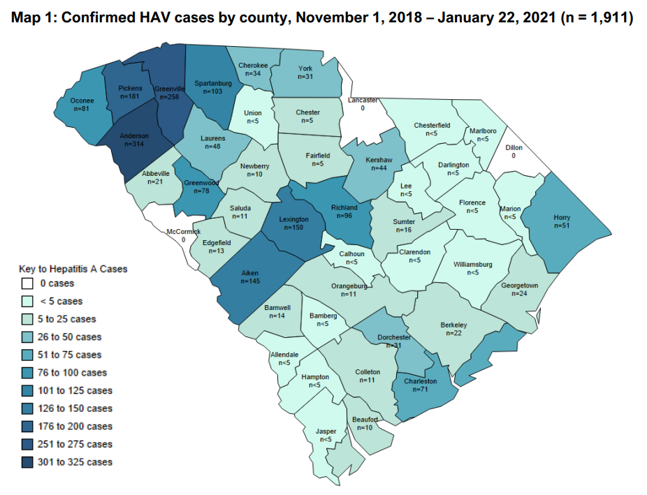Hep A Cases Map 01-25-2021