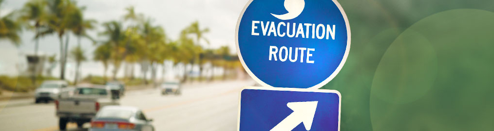 Evacuation Route Sign on Highway