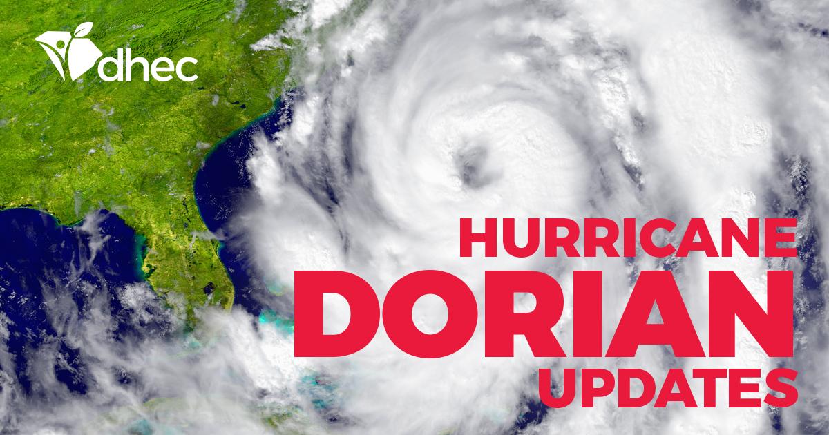 Hurricane Dorian Update - Monday, Sept 2, 2019 | SCDHEC