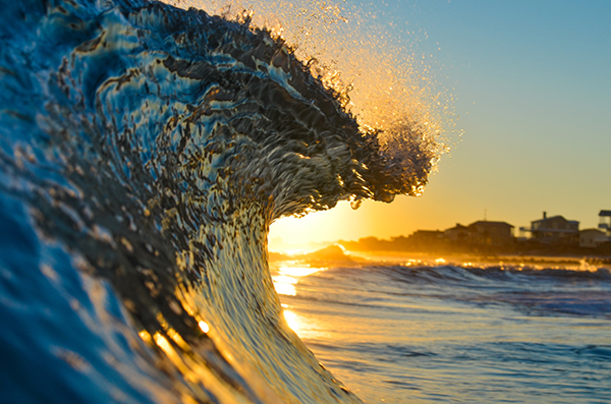 Crashing Wave at Sunset