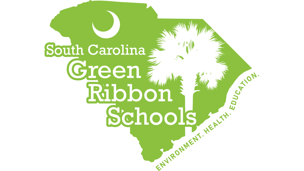 Shape of South Carolina filled with bright green and the text Green Ribbon Schools