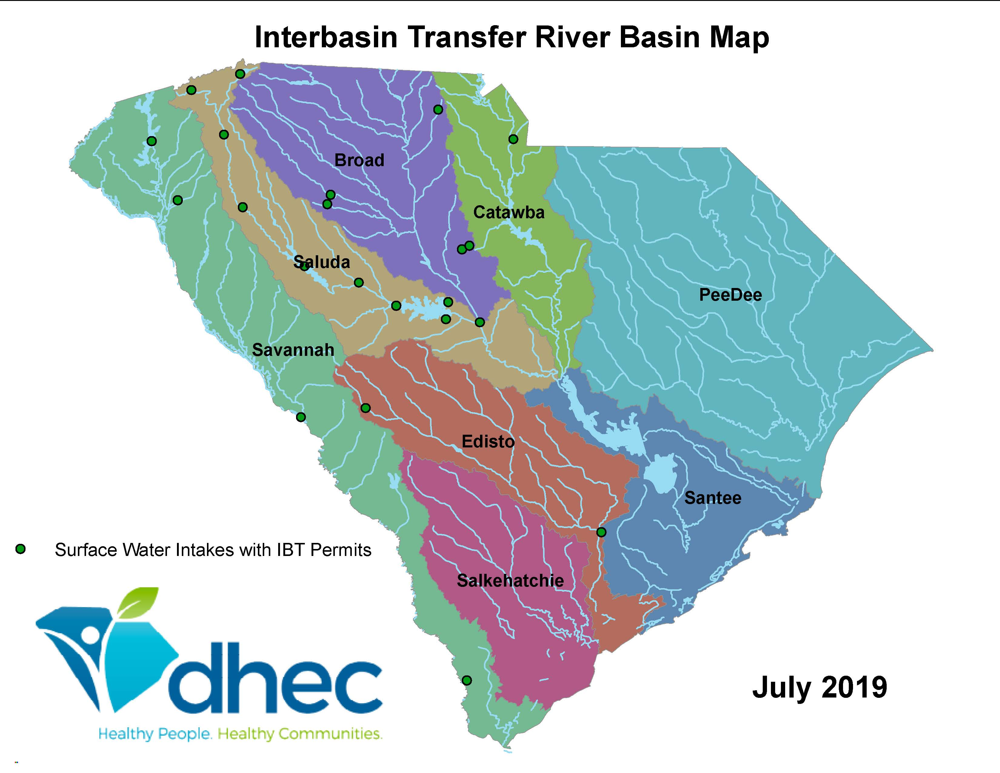 The following map of South Carolina illustrates the 8 major river basins of the state and the locations of surface water intakes are located for interbasin transfers or IBT.