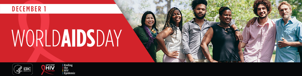 World AIDS Day banner with a diverse group of young adults