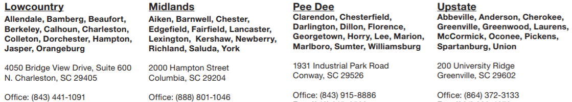 DHEC regional epidemiology offices contact information