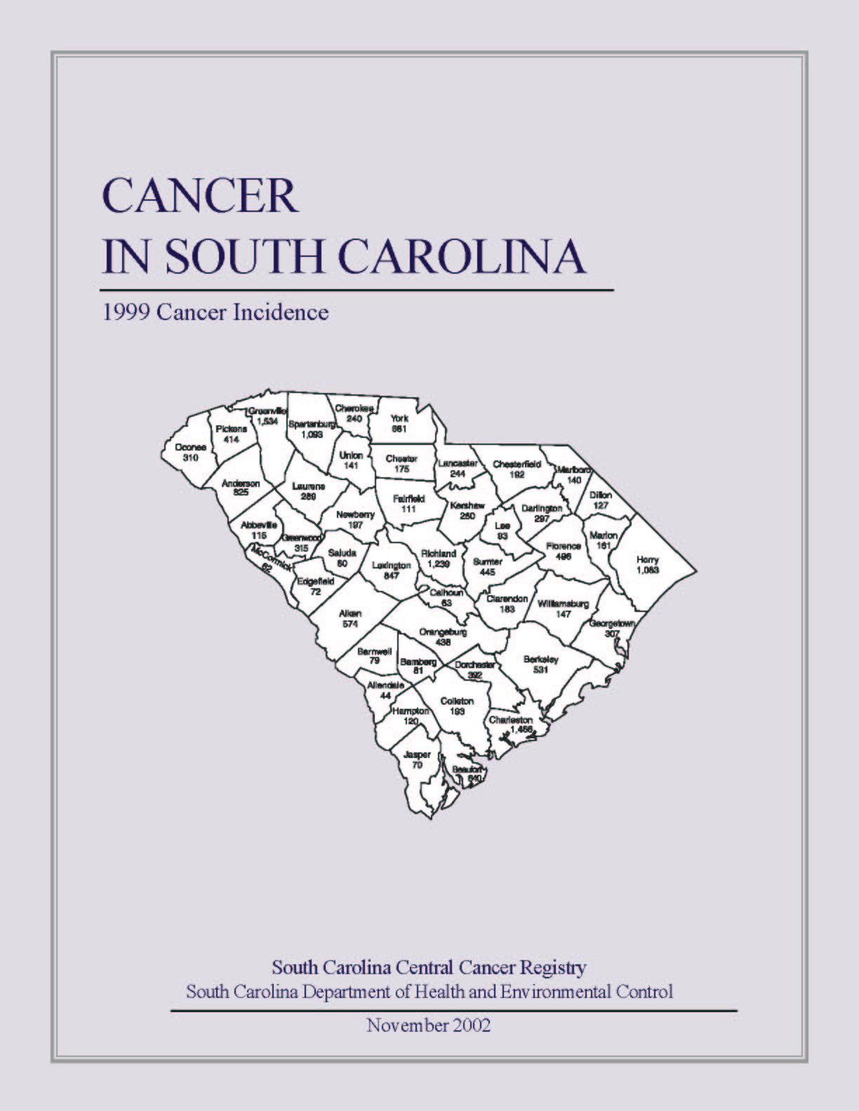 Major S C  Cancer Reports, Summaries   SCDHEC
