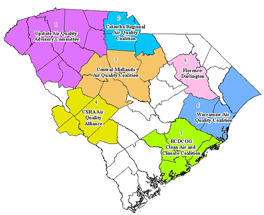 Map of South Carolina's clean air coalitions, local government councils, or other groups dedicated to improving our state's air quality